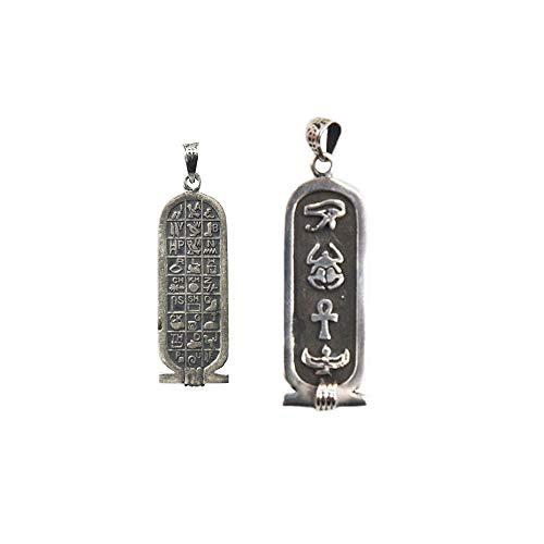 Amulette des alten Ägypten in heller oder antiker Silberpatrone, Horusauge, Heiliger Käfer und ANK der Schlüssel des Lebens. Silber, alt