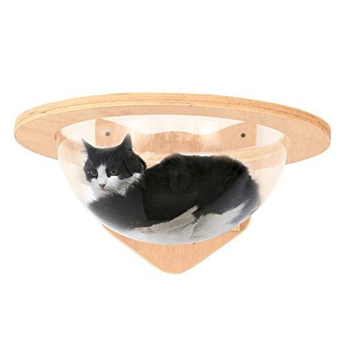 MOUHIV An der Wand befestigtes Cat Space House Jumbo Cat Capsule Katze gehängtes Bett Katzenhängematte mit ustauschbarem Acryldurchmesser 35cm Katze Bullauge Sichtfenster Katzenspielzeug Handgemacht