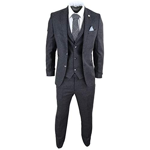 Mens Wool 3 Piece Suit Tweed Charcoal Black Tailored Fit Classic