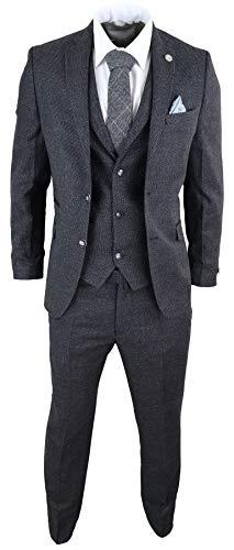 TruClothing.com Herrenanzug 3 Teilig Schwarz Tweed Design Peaky Blinders Klassisch