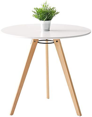 DORAFAIR Runder Esstisch Küchentisch Wohnzimmer Tisch, Skandinavisch Beistelltisch MDF, 80 * 80 * 75, Weiß