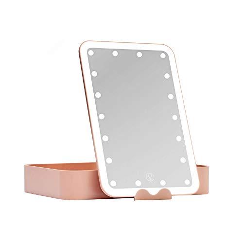Pauleen 48078 Shine Little Blush Schminkspiegel mit Licht dimmbar beleuchtete Schminkbox mit LED Beleuchtung Beauty Case Reise Akku/USB Rosa matt Kunststoff