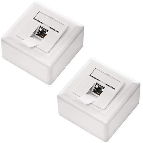 deleyCON 2X CAT6a Universal Netzwerkdose - 1x RJ45 Port - Geschirmt - Aufputz oder Unterputz - 10 Gigabit Ethernet Netzwerk - EIA/TIA 568A&B - Weiß