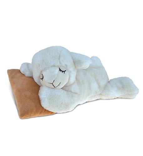 DolliBu Plush Sheep Stuffed Animal - Soft Fur Huggable Sleeping White Sheep  Adorable Playtime Sheep Plush Toy  Cute Farm Life Cuddle Gift  Super Soft Plush Doll Animal Toy for Kids & Adults - 10 Inch