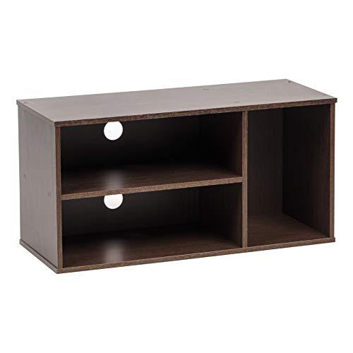 Marca Amazon - Movian Mueble de TV con 3 nichos de almacenaje para pantalla de 28 pulgadas - Madera de ingenieria, roble oscuro, L73.2 x D29 x A36.6 cm