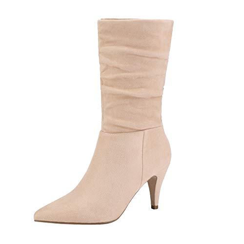 DREAM PAIRS Damen Spitz Mittlere Stiefel mit Stiletto Kimly Nackt Wildleder Größe 9.5 M US / 40.5 EU