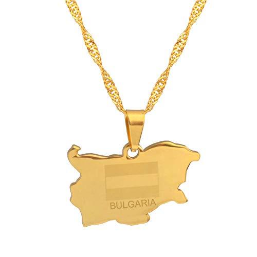 VAWAA Die Republik Bulgarien Anhänger & Halskette Goldfarbe Schmuck Geschenke 45cm dünne Kette