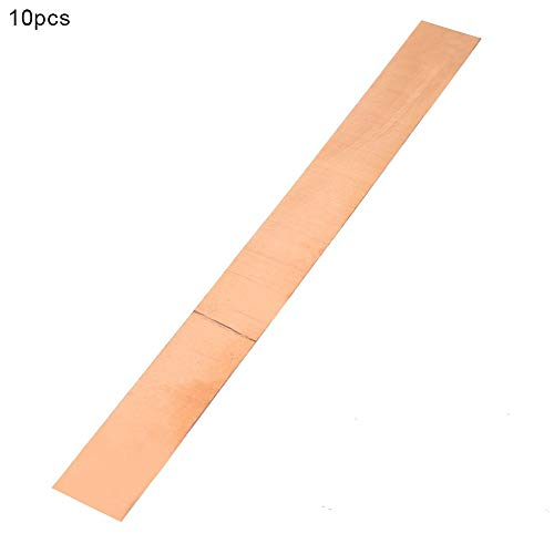 FTVOGUE 10 piezas Placa de cobre de alta pureza Placa de chapa de metal Placa de cobre puro Materiales de laboratorio 0,1 mm * 20 mm * 200 mm CU > 99,999%