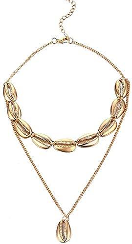 banbeitaotao Collar Cadena de Concha Multicapa para Mujer Cadena Larga de Color Dorado Concha Ocean Beach Collares Pendientes Cadena de eslabones de joyería