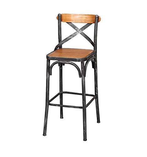 WEHOLY Iron Art Tabouret Industriel Style Vintage en Bois massif Siège Bar Comptoir Chaise Cuisine Petit-déjeuner Tabouret Convient aux chaises familiales ou professionnelles (Couleur: B)