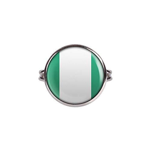 Mylery Ring mit Motiv Nigeria Abuja Flagge Silber 16mm