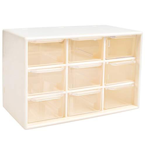 Caja de organizador de almacenamiento de herramientas de bricolaje YOTINO, 9 cajones Tornillos de taller y caja de artesanía estacionaria de gabinete de piezas pequeñas (blanco)