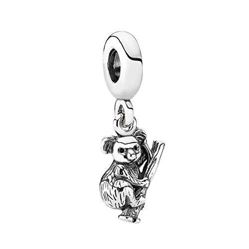 Colgante De Plata De Ley 925 Con Cuentas De Oso Koala, Abalorio Colgante De Moda Para Mujer, Pulsera Pandora, Brazalete, Joyería Diy, Regalo De Cumpleaños