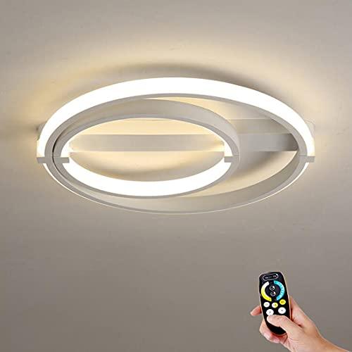 Lámpara de techo LED regulable, moderno lámpara de plafón LED con control remoto, Montaje empotrado fixtures de acrílico blanco 23,6〃(60cm) iluminación de araña redonda para dormitorio, sala de estar