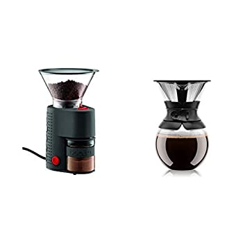 Bodum Bistro Burr Grinder Electronic Coffee Grinder with Continuously Adjustable Grind Black & Pour Over Coffee Maker with Permanent Filter 1 Liter 34 Ounce Black Band