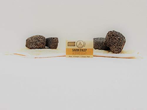 ALEPEO   Jabón de Alepo   Jabón con forma de naranja   Con laurel y aceite de oliva para el cuerpo y el pelo   100% vegetariano, hecho a mano, sin aceite de palma, sin plástico