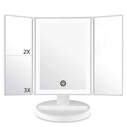 deweisn Triple Espejo Maquillaje con Luz, Espejo Cosmético 36 Leds Luces Naturales Ajustable Pantalla Táctil Espejo de Mesa Ampliación 1X / 2X / 3X Plegable Rotación 180°para Mujer (Blanco-01)