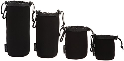 Kolefei 4Pcs Drawstring Soft Neoprene Lens Storage Bag Extra Large Pouch for Canon Nikon Black