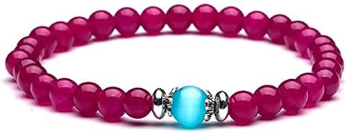 Pulsera de buena suerte Pulsera de piedra Mujer, 7 chakra perlas de piedra natural de piedra púrpura cuarzo elástico brazalete joyería yoga reza energía equilibrio encanto difusor pulsera mujer para r