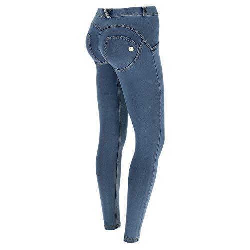 jeans donna elasticizzati FREDDY Pantalone WR.UP® Superskinny Vita e Lunghezza Regular in Jersey Denim Chiaro - Jeans Chiaro-Cuciture Gialle - Medium
