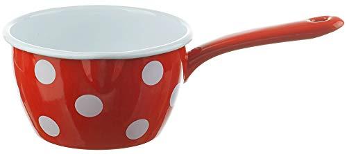 matches21 Kleine Email Stielkasserolle/Stieltopf mit Ausguss Retro Emaille Geschirr rot/weiß gepunktet 9 x 14 cm / 1000 ml