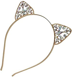 JIANGNIAU Fashion Girls Metal Rhinestone Cat Ear Hairband Costume Party Hair Accessories(Gold) (Color : Gold)