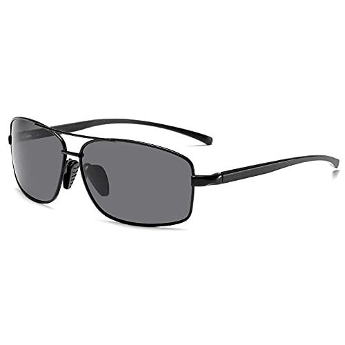 XXBFDT Gafas sol polarizadas hombres y mujeres - Gafas de sol de cambio de color de magnesio de aluminio cuadrado-Marco negro
