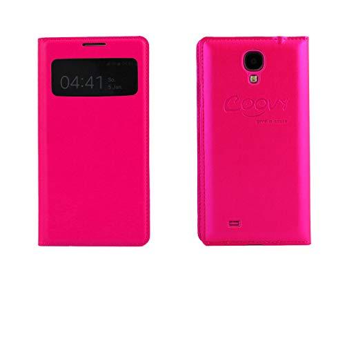 COOVY® Funda para Samsung Galaxy S4 GT-i9500 GT-i9505 GT-i9506 Ultrafina con Ventana de visualización, lámina Protectora de Pantalla | Color Rosa Fuerte