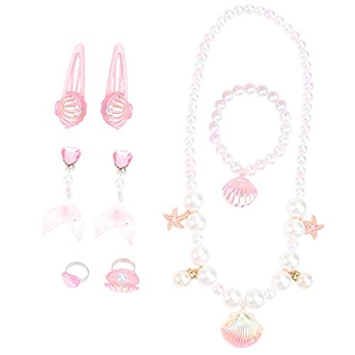 VALICLUD Conjunto de Joyas de Princesa Sirena para Niños Y Niñas Collar de Concha de Mar Rosa Pulsera Pinza para El Pelo Accesorios para Vestir para Niños