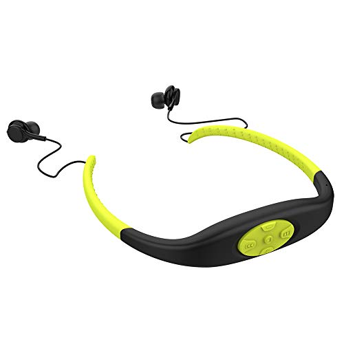 Lettore musicale MP3 con cuffia Mp3 impermeabile, stereo Hi-Fi con memoria da 8 GB, radio FM, auricolare Bluetooth per nuoto, surf, corsa, sport, design premiato (giallo)