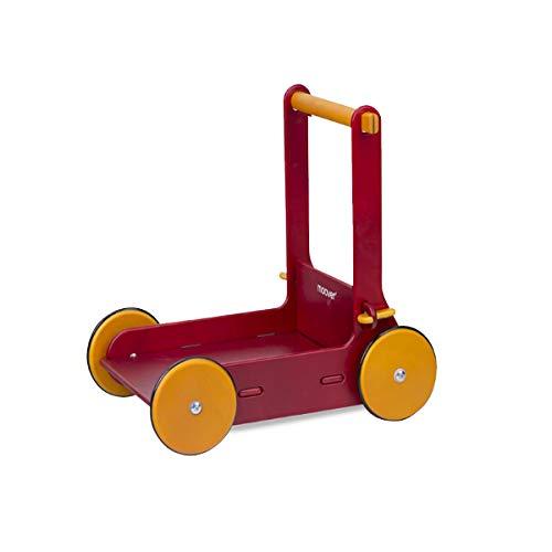 Moover ベビーウォーカー【ナチュラル】 手押し車 歩行器 歩行練習 つかまり立ち 木製 北欧デザイン おしゃれ 幼児 赤ちゃん 対象年齢 8ヶ月以上 (レッド)