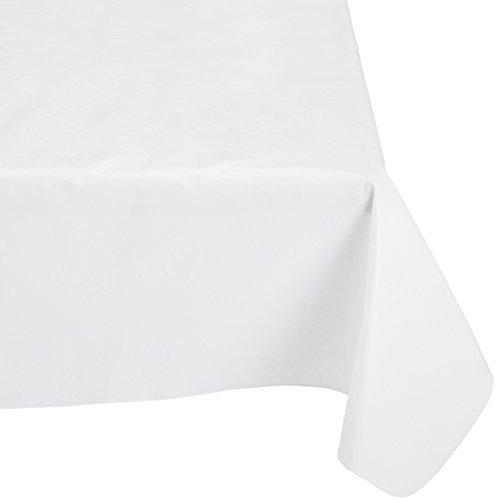 Carnation Home Fashions Nappe en Vinyle avec Dos Flanelle de Polyester, 132,1 cm par 132,1 cm, Blanc