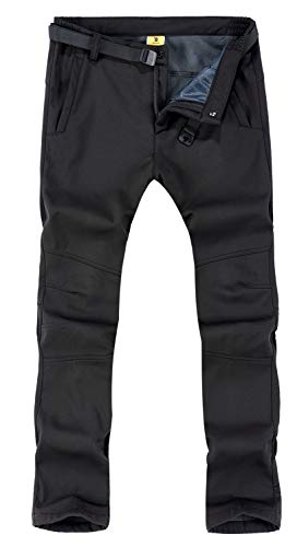 TBMPOY Men's Outdoor Lightweight Waterproof Hiking Mountain Pants(01 Thick Black,us M)