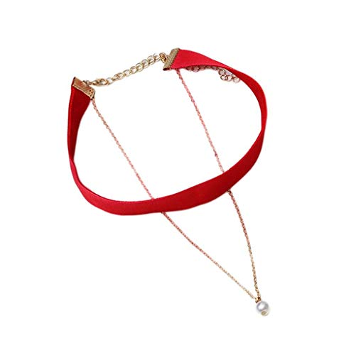YiyiLai Perle Kette Damen Fashion Tattoo Choker Halskette Necklace Tattoo Rot