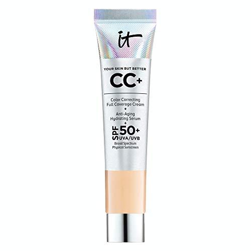 IT Cosmetics Your Skin But Better CC+ Cream Travel Size, Medium (W) - Color Correcting Cream, Full-Coverage Foundation, Hydrating Serum & SPF 50+ Sunscreen - Natural Finish - 0.406 fl oz