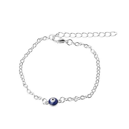 ZOOMY Turco Blu malvagio Protezione Occhi Azzurri cavigliera a Piedi Nudi bracciali Gioielli Piede - Argento
