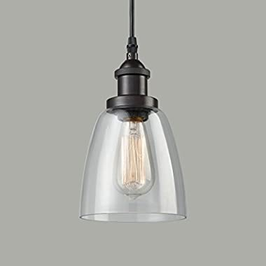 CLAXY Ecopower Industrial Mini Glass Pendant Oil-Rubbed Bronze Hanging Light Fixture