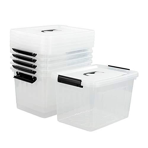 Asking Caja transparente de 10 litros con asa/pestillo negro, cajas de almacenamiento de plástico con tapa, 6 unidades