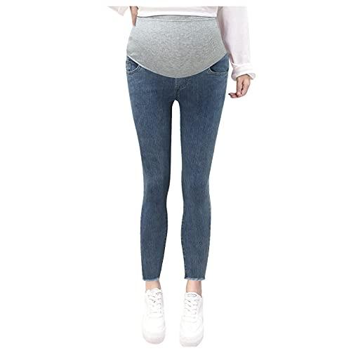 Briskorry Umstandsjeans Damen Cropped Slim Fit Jeans High Waist Jeansoptik Yogahosen Bequeme Umstands-Baumwoll-Leggings FüR Frauen