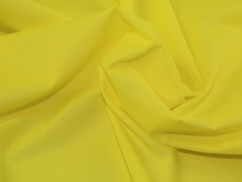 Stoff, Meterware, Baumwoll-Polyester-Mischgewebe in strahlendem Gelb, Breite: 114 cm