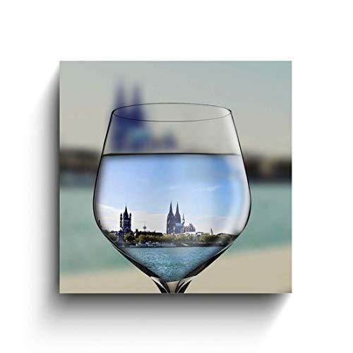 Köln im Weinglas, Köln Fotos auf Holz, Holzbilder, Handmade, verschiedene Größen