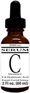 BSBValue Vitamin C Serum for Face and Skin with Hyaluronic Acid, Vitamin E, Witch Hazel, 1 or 2 fl oz, 17 Factor Formula, ...