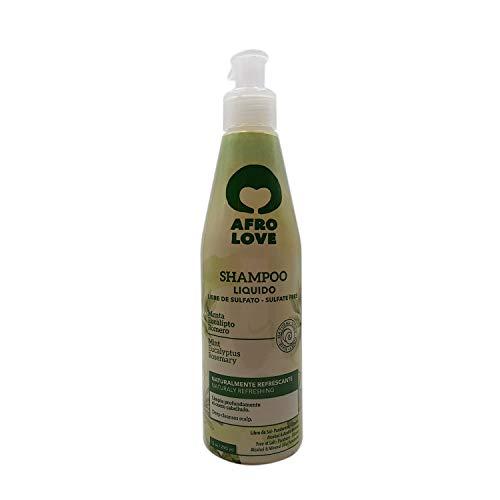 Afro Love Shampoo Rinfrescante Senza Solfati, Parabeni e Silicone per Capelli Ricci 290ml con Menta, Eucalipto e Rosmarino - Vegano e Cruelty-free