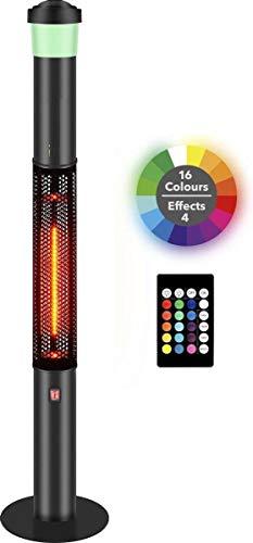 MaxxGarden Chauffage Radiant pour terrasses - Électrique Infrarouge - Bluetooth Speaker - 16-Color LED - IP55-1500 W