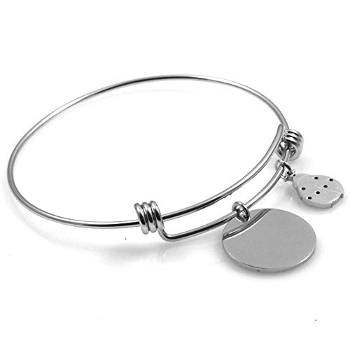 amorili Armband Frau Stahl-Festplatte mit runden anhänger und marienkäfer sehr gut für die Gravur Durchmesser 6 cm verstellbar - bcc2351