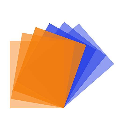 Color Correction Gels Filter 6 Pack Kit 16x20 inches/40x50cm Warm Orange Blue Lighting Sheet for Photo Studio Video Flashlight Led Light Photography