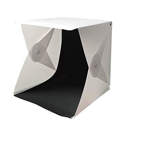 Tienda de luz para estudio fotográfico, 24 x 24 x 22 cm, regulable, 3 colores de luz, plegable, con 40 luces LED y 6 fondos para fotografía (blanco/negro/amarillo/verde/azul/rojo)