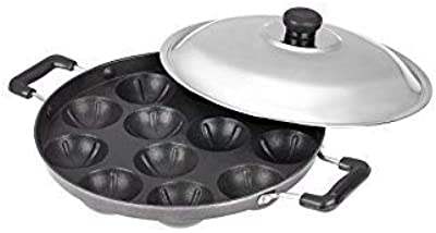 Kuber Industries Appam03 Heavy Weight Non-Stick 12 Appam Patra Side Handle with Lid, Black