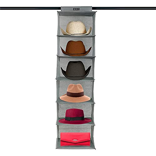 Boxy Concepts Cowboy Hat Rack for Closets (6 Shelves) - 13' Wide Extra Large Hat Organizer for Wide Brimmed Hats - Hat Storage to Keep Hats Safely Stored - Western Hat Rack and Sun Hat Holder