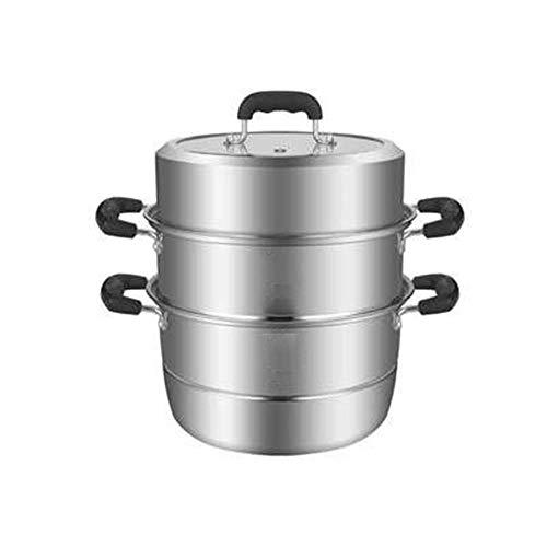 WALNUTA Steamer- Acero Inoxidable de 3 Piezas for Trabajo Pesado Vapor del Acero Inoxidable Pot Set Incluye, 2 Quart Vapor Insertar y ventilación